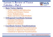 EE2011 Lecture 1 - Review of Vector Calculus