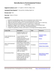 Introduction to Environmental Science Unit Plan