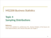Topic 4 Sampling Distributions