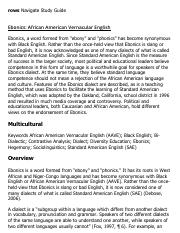 Ebonics_ African American Vernacular English Research Paper Starter - eNotes