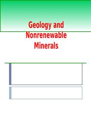 Geology and Nonrenewable Mineral Resources.ppt