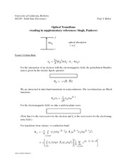 Optical  transitions Handout