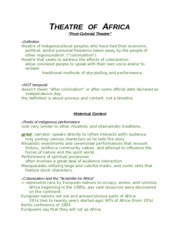 06. Theatre of Nigeria and South Africa