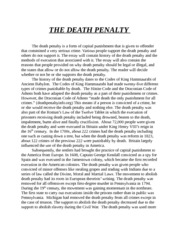 the death penalty as a form of Death penalty also known as capital punishment is defined as the practice of executing an individual as the punishment for a specific crime after conviction by a court of law in the usa, the death sentence is legal in 32 states and texas got the highest death sentencing rates (death penalty info.
