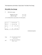 Thermodynamics and Kinetics- Study Guide- The Gibbs Free Energy