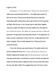 english 111001 primary source analysis essay english 111001 hemingways a very short story tells the love story between a soldier and a nurse during
