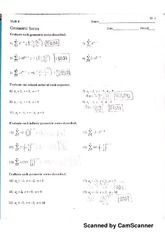 Geometric series and sequences Odds only HW