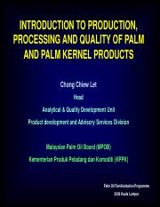 Palm Oil Processing and Quality Let