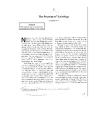 mills - promise of sociology