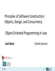 20200121 Object Oriented Programming In Java Pdf Principles Of Software Construction Objects Design And Concurrency Object Oriented Programming In Course Hero