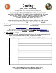 Cooking Merit Badge Workbook - Cooking Merit Badge Workbook