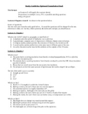 Study Guide for Optional Cumulative Final MW