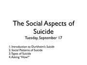 The Social Aspects of Suicide, Lecture Slides