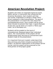 American Revolution Project 2009.doc