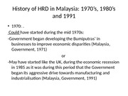 History of HRD in Malaysia