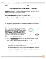 03 - Dehydration Synthesis Gizmo - Name Date Student ...