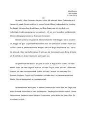 Deutsch 2 Final Exam Essay