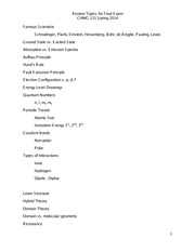 Gen Chemistry for Engineers final exam study guide