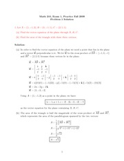 Practice Exam 1 Solution on Calculus III Fall 2009