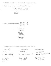 Test 7 Solution Summer 2014 on Pre-Calculus