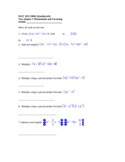 Test chapter 5 Polynomials and Factoring 20062