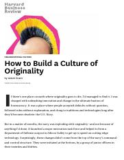 How to Build a Culture of Originality