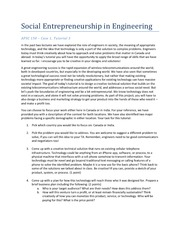 APSC 150 - Tutorial 3 - Social Entrepreneurship in Engineering
