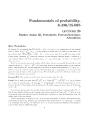 Markov chains III, Periodicity, Perron-Frobenius, and Absorption notes