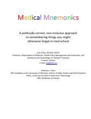 mapped-medical-mnemonics pdf - Medical Mnemonics A