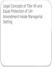 Legal Concepts of Title VII and Equal Protection