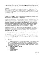 Benchmark Educational Philosophy Assignment Instructions.docx