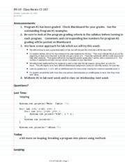 09-19  Class Notes CS 107