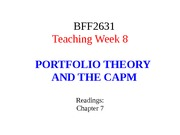 Lecture 8 - Portfolio Theory and CAPM