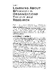 Learning about behavior in organizations Theory and research