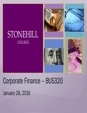 Stonehill College BUS320 Week 2 01.28.2016
