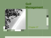 Chapter 27 Golf Management