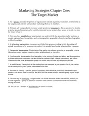 Chapter One - The Target Market