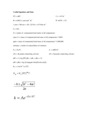 Useful Equations and Data