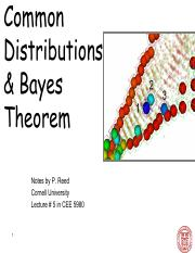 CEE 5980 Lec 5 Common Distributions & Bayes Theorem (Instructor)
