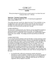 Syllabus COM 217 Fall 2011