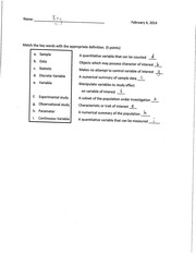 STATS 1 Chapter 1 Vocab Worksheet Answer Key