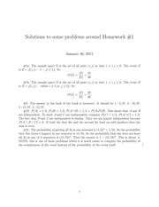 Homework 1 Solution on Probability I Spring 2015