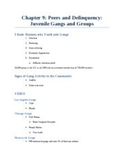 Chapter 9_Peers and Delinquency_Juvenile Gangs and Groups