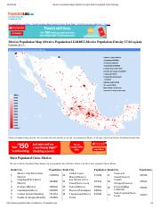 Mexico Population Map Statistics Graph Most Populated Cities Density