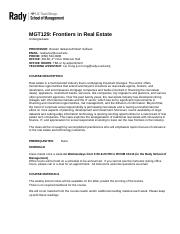 6 Pages MGT129 Frontiers In Real Estate Syllabus