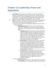Chapter 13 outline- Leadership- Power and Negotiation