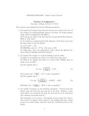 PHYS 1650 Fall 2012 Assignment 1 Solutions