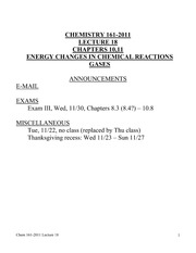 Chem 161-2011 Lecture 18, Chapters 10,11
