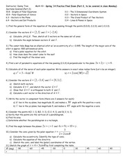 Math 43 - Spring '14 Practice Final (Part 2)
