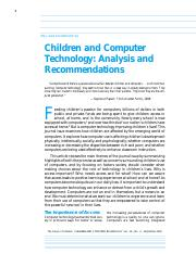 Children and Computer Technology